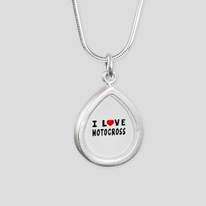 I Love Motocross Silver Teardrop Necklace