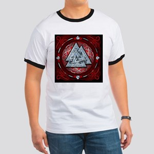 Norse Valknut Tapestry - Red Ringer T