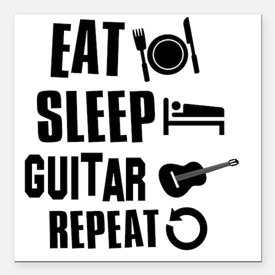 "Eat Sleep Guitar Square Car Magnet 3"" x 3"""