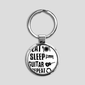 Eat Sleep Guitar Round Keychain