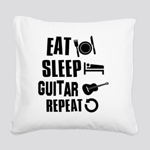 Eat Sleep Guitar Square Canvas Pillow