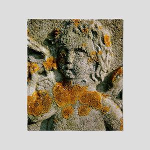 Macrophotograph of a lichen Throw Blanket