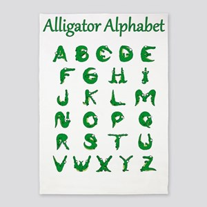 Alligator Alphabet 5'x7'Area Rug