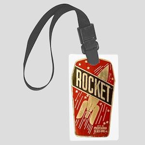 Rocket scifi vintage Large Luggage Tag