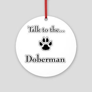 Doberman Talk Ornament (Round)