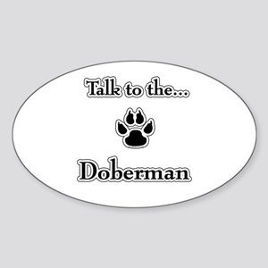 Doberman Talk Oval Sticker