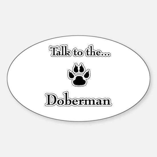 Doberman Talk Oval Decal