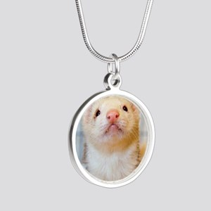 Silly Ferret Silver Round Necklace