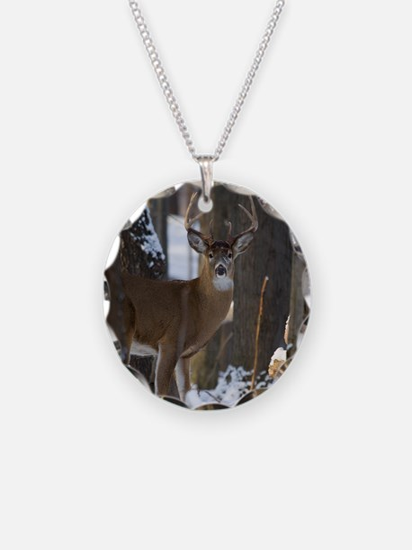 Trophy Whitetail D1316-014 Necklace Circle Charm