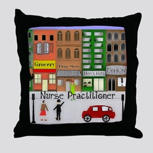 NP retro scene Gails watercolor art Throw Pillow
