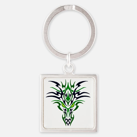 Two Toned Green Dragon Square Keychain
