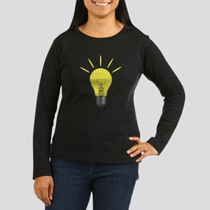 Bright Idea Light Bulb Women's Long Sleeve Dark T-