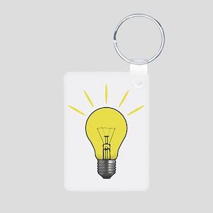 Bright Idea Light Bulb Aluminum Photo Keychain