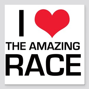 """I Love The Amazing Race Square Car Magnet 3"""" x 3"""""""