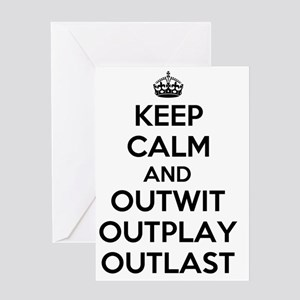 Keep Calm and Outwit, Outplay, Outla Greeting Card