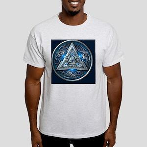 Norse Valknut Tapestry - Blue Light T-Shirt