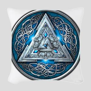 Norse Valknut - Blue Woven Throw Pillow