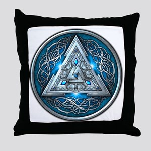 Norse Valknut - Blue Throw Pillow