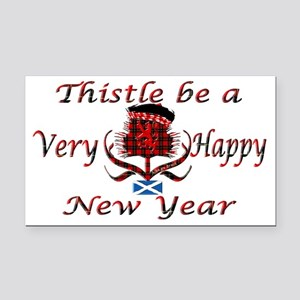 Red tartan thistle new year Rectangle Car Magnet