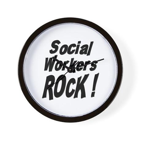 Social Workers Rock ! Wall Clock