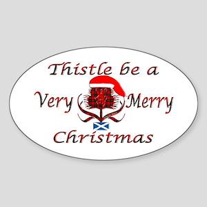 Red tartan thistle christmas Sticker (Oval)