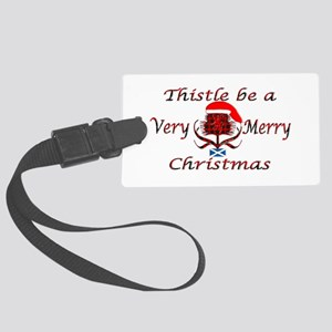 Red tartan thistle christmas Large Luggage Tag