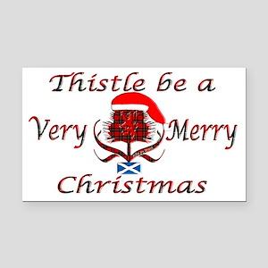 Red tartan thistle christmas Rectangle Car Magnet