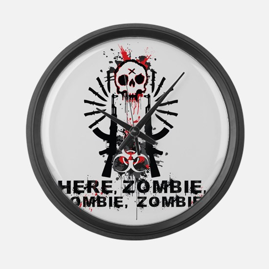 Here zombie,zombie Large Wall Clock