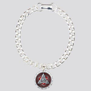 Norse Valknut - Red Charm Bracelet, One Charm
