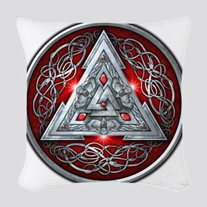 Norse Valknut - Red Woven Throw Pillow