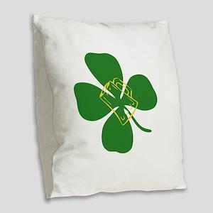 Kiss me Burlap Throw Pillow