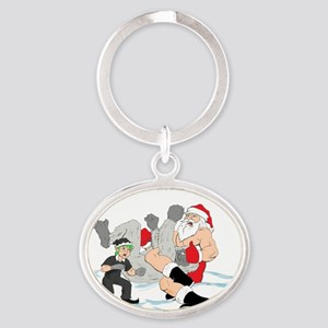 MMA Santa vs SnowMonster Oval Keychain