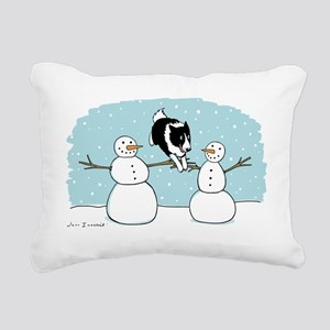 bordercolliewinterCP Rectangular Canvas Pillow