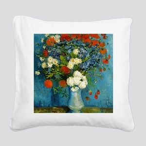 Vase With Cornflowers And Pop Square Canvas Pillow