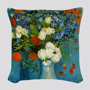 Vase With Cornflowers And Popp Woven Throw Pillow
