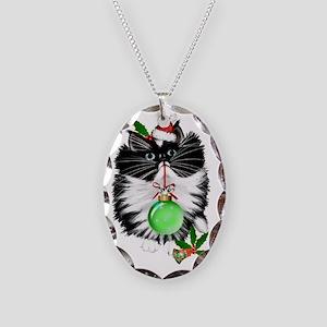 A Tuxedo Merry Christmas Necklace Oval Charm