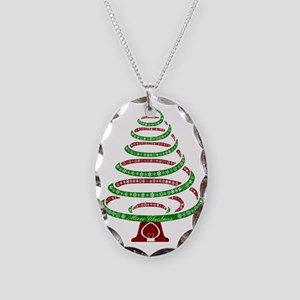 Christmas Tree Necklace Oval Charm