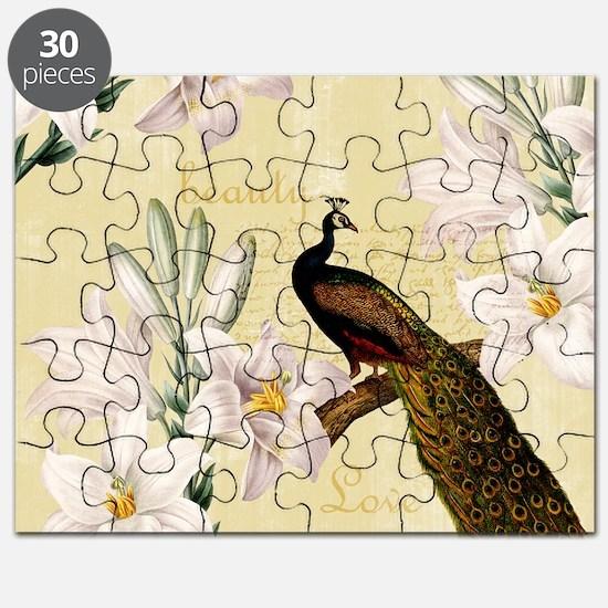 Vintage Peacock Lilies Puzzle