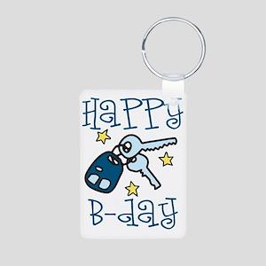Happy B-day Aluminum Photo Keychain