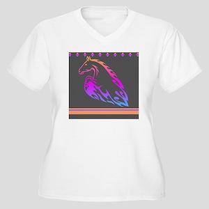 Rainbow Horse Des Women's Plus Size V-Neck T-Shirt