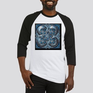 Silver and Blue Celtic Tapestry Baseball Jersey