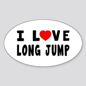 I Love Long Jump Sticker (Oval)
