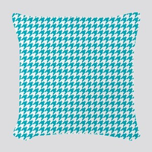 Houndstooth in Turquoise and W Woven Throw Pillow