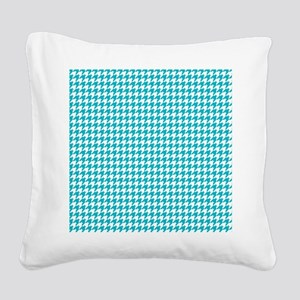 Houndstooth in Turquoise and  Square Canvas Pillow