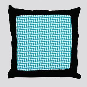 Houndstooth in Turquoise and White Throw Pillow