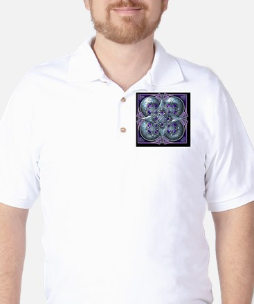 Silver and Purple Celtic Tapestry Golf Shirt