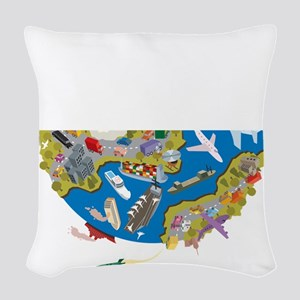 The Amazing Race Transportatio Woven Throw Pillow