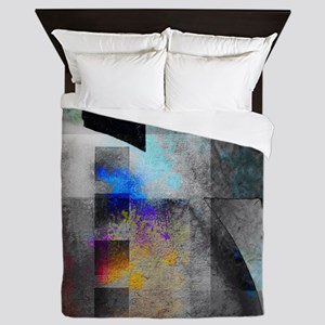 Industrial Grunge with Gray and Blue Queen Duvet