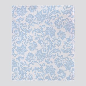 Sky Blue and White Damask Throw Blanket
