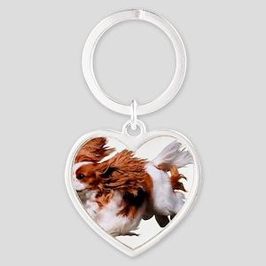 Cavalier Running- Blenheim Heart Keychain